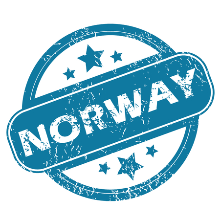 archive site: Round rubber stamp with word NORWAY and stars, isolated on white Illustration