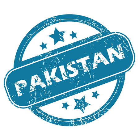 archive site: Round rubber stamp with word PAKISTAN and stars, isolated on white Illustration