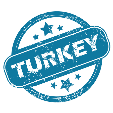 archive site: Round rubber stamp with word TURKEY and stars, isolated on white Illustration