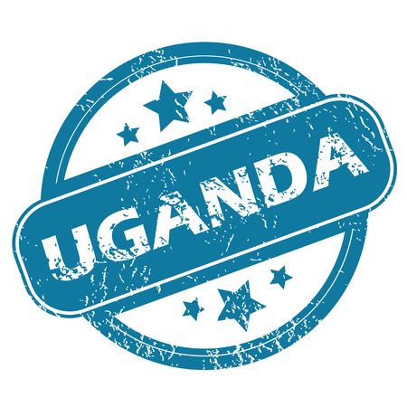 oeganda: Round rubber stamp with word UGANDA and stars, isolated on white