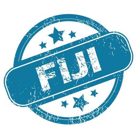 fiji: Ronde rubber stempel met woord Fiji en sterren, geïsoleerd op wit