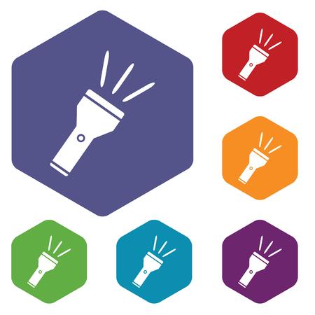 iluminacion led: Coloreado conjunto de iconos hexagonales con la imagen de la linterna, aislado en blanco