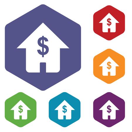 fondos violeta: Coloreado conjunto de iconos hexagonales con casa con el d�lar emblema, aislado en blanco Vectores