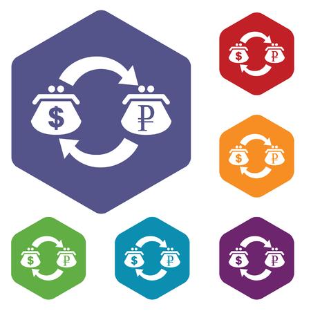 fondos violeta: Coloreado conjunto de iconos hexagonales con el s�mbolo de cambio d�lar-rublo, aislado en blanco