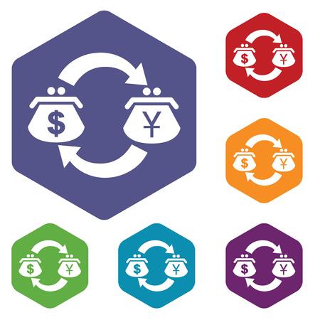 fondos violeta: Coloreado conjunto de iconos hexagonales con el símbolo del dólar-yen, aislado en blanco Vectores