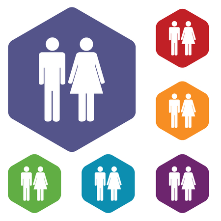 woman isolated: Colored set of hexagon icons with image of man and woman, isolated on white Illustration