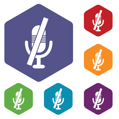 to muffle: Colored set of hexagon icons with image of muted microphone, isolated on white Illustration