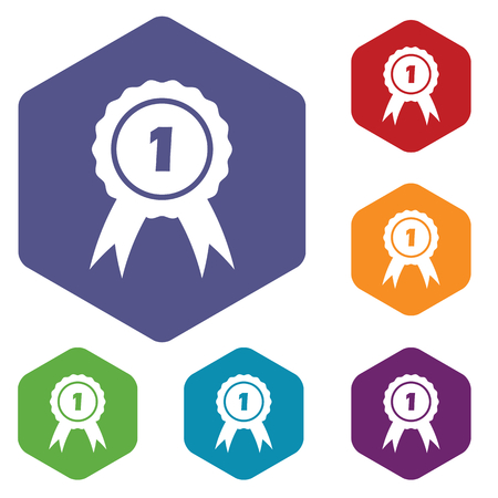 corroboration: Colored set of hexagon icons with 1st place award, isolated on white