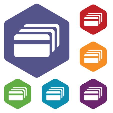 fondos violeta: Coloreado conjunto de iconos hexagonales con la imagen de la tarjeta de cr�dito, aislado en blanco