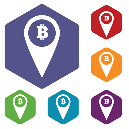 Colored set of hexagon icons with map marker with bitcoin symbol, isolated on white Vector