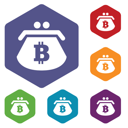 fondos violeta: Coloreado conjunto de iconos hexagonales con el monedero con el s�mbolo de bitcoin, aislado en blanco