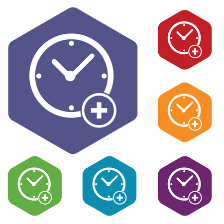 Colored set of hexagon icons with image of clock and plus, isolated on white