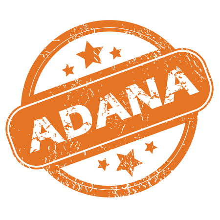 archive site: Round rubber stamp with city name Adana and stars, isolated on white Illustration