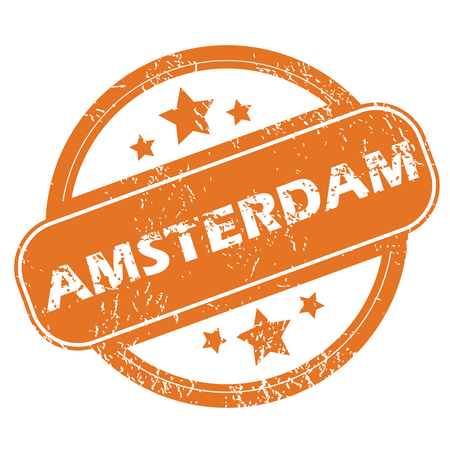 archive site: Round rubber stamp with city name Amsterdam and stars, isolated on white Illustration