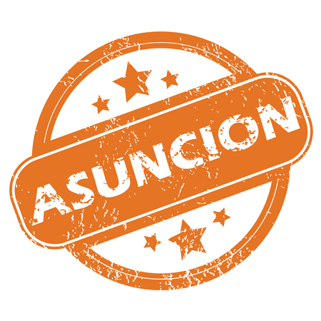 archive site: Round rubber stamp with city name Asuncion and stars, isolated on white Illustration