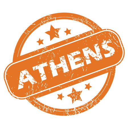 athens: Round rubber stamp with city name Athens and stars, isolated on white