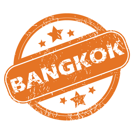 bangkok city: Round rubber stamp with city name Bangkok and stars, isolated on white Illustration