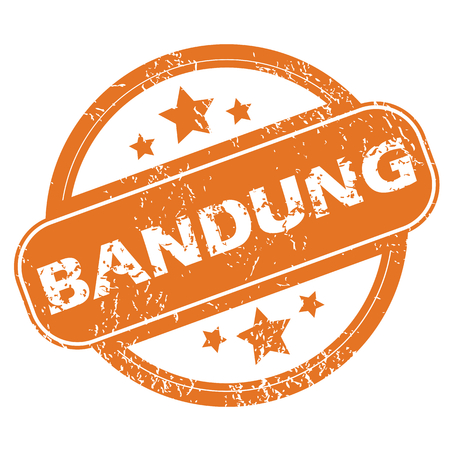 archive site: Round rubber stamp with city name Bandung and stars, isolated on white Illustration