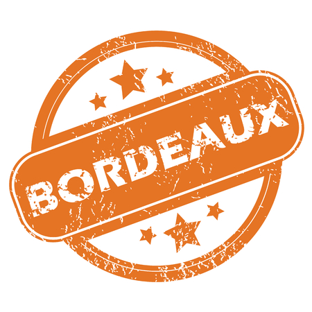 bordeaux: Round rubber stamp with city name Bordeaux and stars, isolated on white