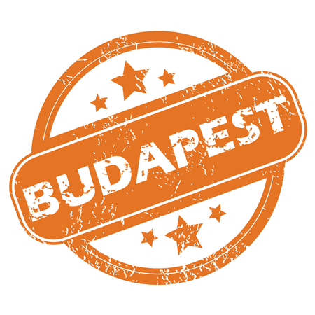 Round rubber stamp with city name Budapest and stars, isolated on white Vector