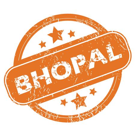 bhopal: Sello de goma redonda con nombre de la ciudad de Bhopal y las estrellas, aislado en blanco