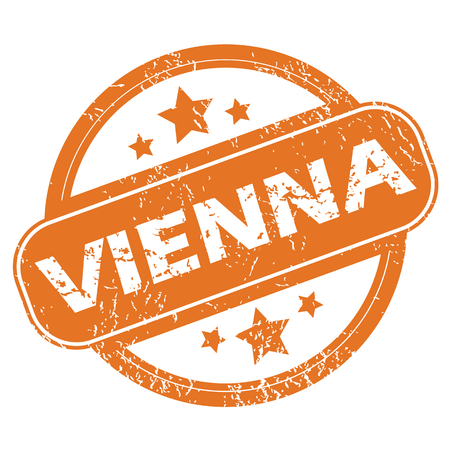 Round rubber stamp with city name Vienna and stars, isolated on white Vector