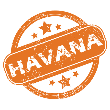 havana: Round rubber stamp with city name Havana and stars, isolated on white Illustration