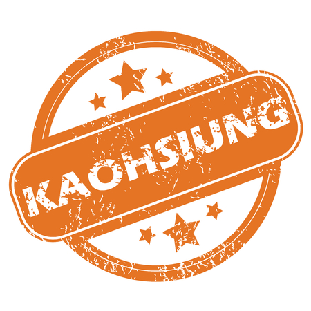 archive site: Round rubber stamp with city name Kaohsiung and stars, isolated on white