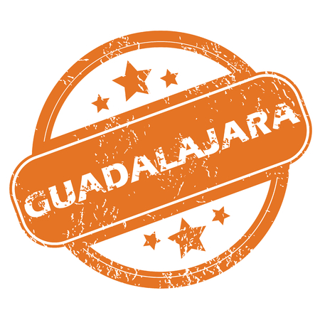messy office: Round rubber stamp with city name Guadalajara and stars, isolated on white Illustration