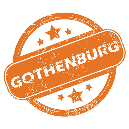 gothenburg: Round rubber stamp with city name Gothenburg and stars, isolated on white