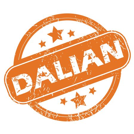 archive site: Round rubber stamp with city name Dalian and stars, isolated on white Illustration