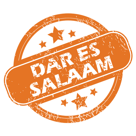 archive site: Round rubber stamp with city name Dar Es Salaam and stars, isolated on white