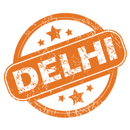 archive site: Round rubber stamp with city name Delhi and stars, isolated on white Illustration