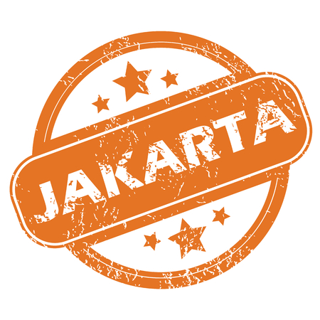 jakarta: Round rubber stamp with city name Jakarta and stars, isolated on white