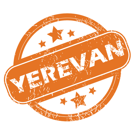 yerevan: Round rubber stamp with city name Yerevan and stars, isolated on white