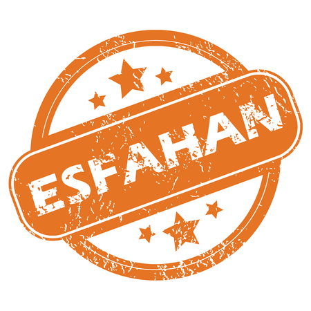 archive site: Round rubber stamp with city name Esfahan and stars, isolated on white Illustration
