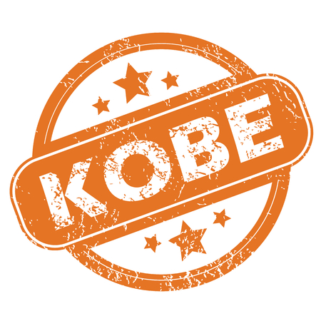 kobe: Round rubber stamp with city name Kobe and stars, isolated on white