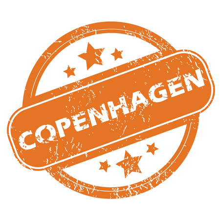 Round rubber stamp with city name Copenhagen and stars, isolated on white Vector