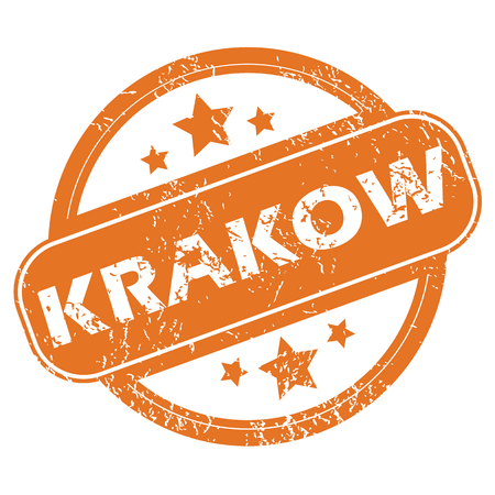 krakow: Round rubber stamp with city name Krakow and stars, isolated on white
