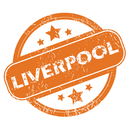 liverpool: Round rubber stamp with city name Liverpool and stars, isolated on white