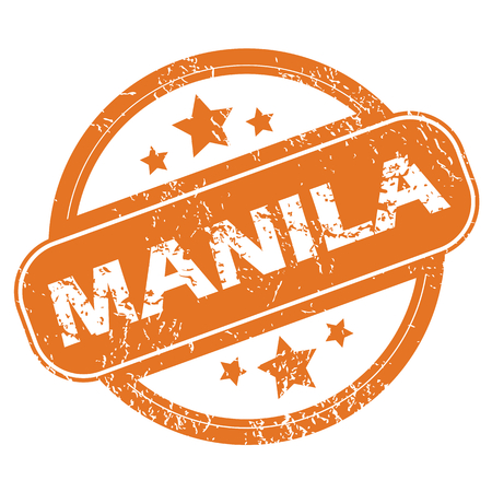manila: Round rubber stamp with city name Manila and stars, isolated on white