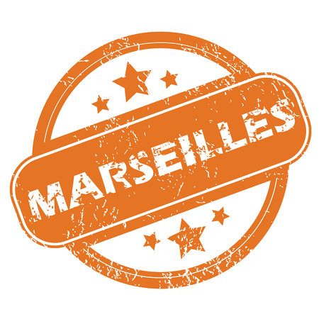 archive site: Round rubber stamp with city name Marseilles and stars, isolated on white