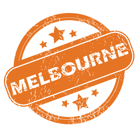 melbourne: Round rubber stamp with city name Melbourne and stars, isolated on white