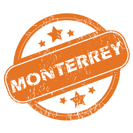 monterrey: Round rubber stamp with city name Monterrey and stars, isolated on white