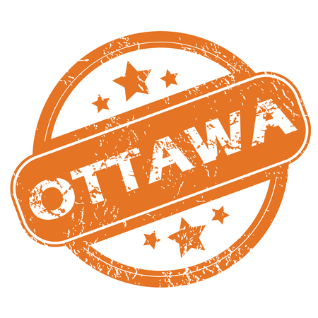 ottawa: Round rubber stamp with city name Ottawa and stars, isolated on white