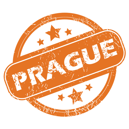Round rubber stamp with city name Prague and stars, isolated on white Illustration