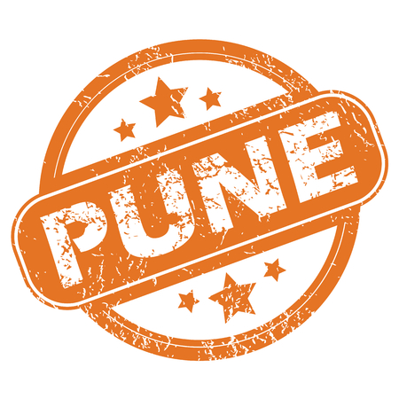 pune: Round rubber stamp with city name Pune and stars, isolated on white