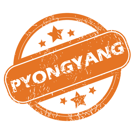 Round rubber stamp with city name Pyongyang and stars, isolated on white Vector