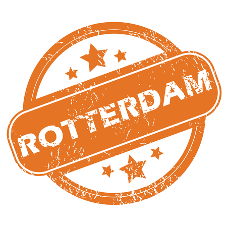 rotterdam: Round rubber stamp with city name Rotterdam and stars, isolated on white Illustration