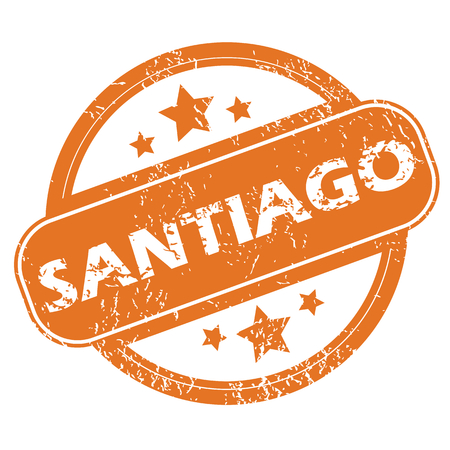 santiago: Round rubber stamp with city name Santiago and stars, isolated on white